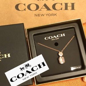 Coach Necklace Rose Gold Color w Crystal & Box WOW